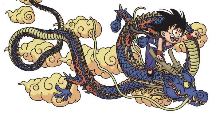 Goku di Dragon Ball a cavallo del Dragon Shenron